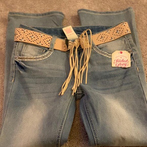 11b83f1f3c8 Cute jeans with boho belt. NWT. Faded Glory